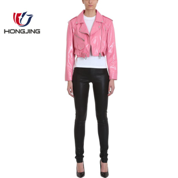 women cropped biker jacket pink leather notched lapels off-centre front zip fastening long sleeves silver-tone hardware Jacket