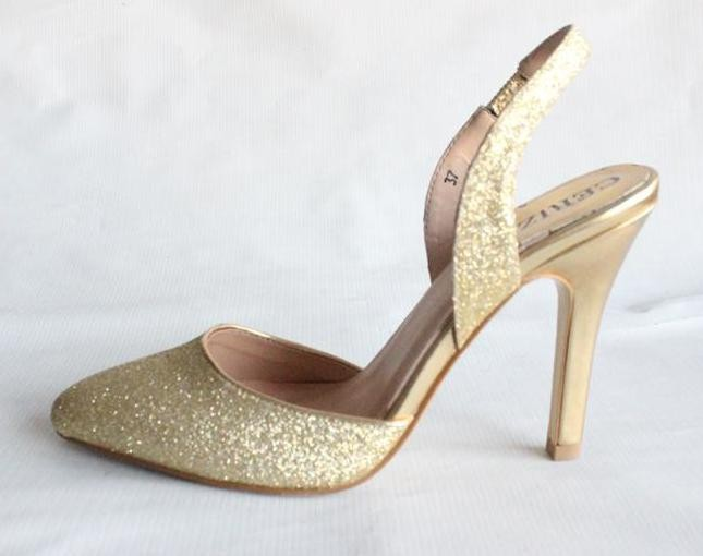 Gold Glitter Ladies Sexy Slingback High Heel Shoes Closed Toe ...