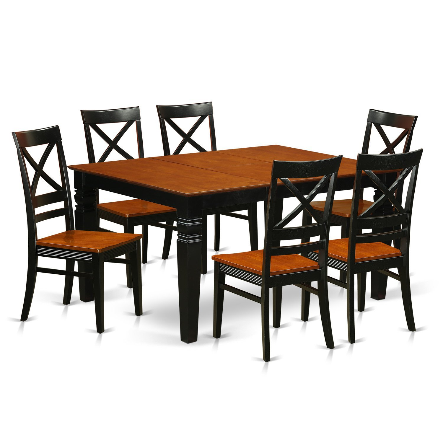 East West Furniture Weston WEQU7-BCH-W 7 Pc Set with a Kitchen Table and 6 Wood Dining Chairs, Black