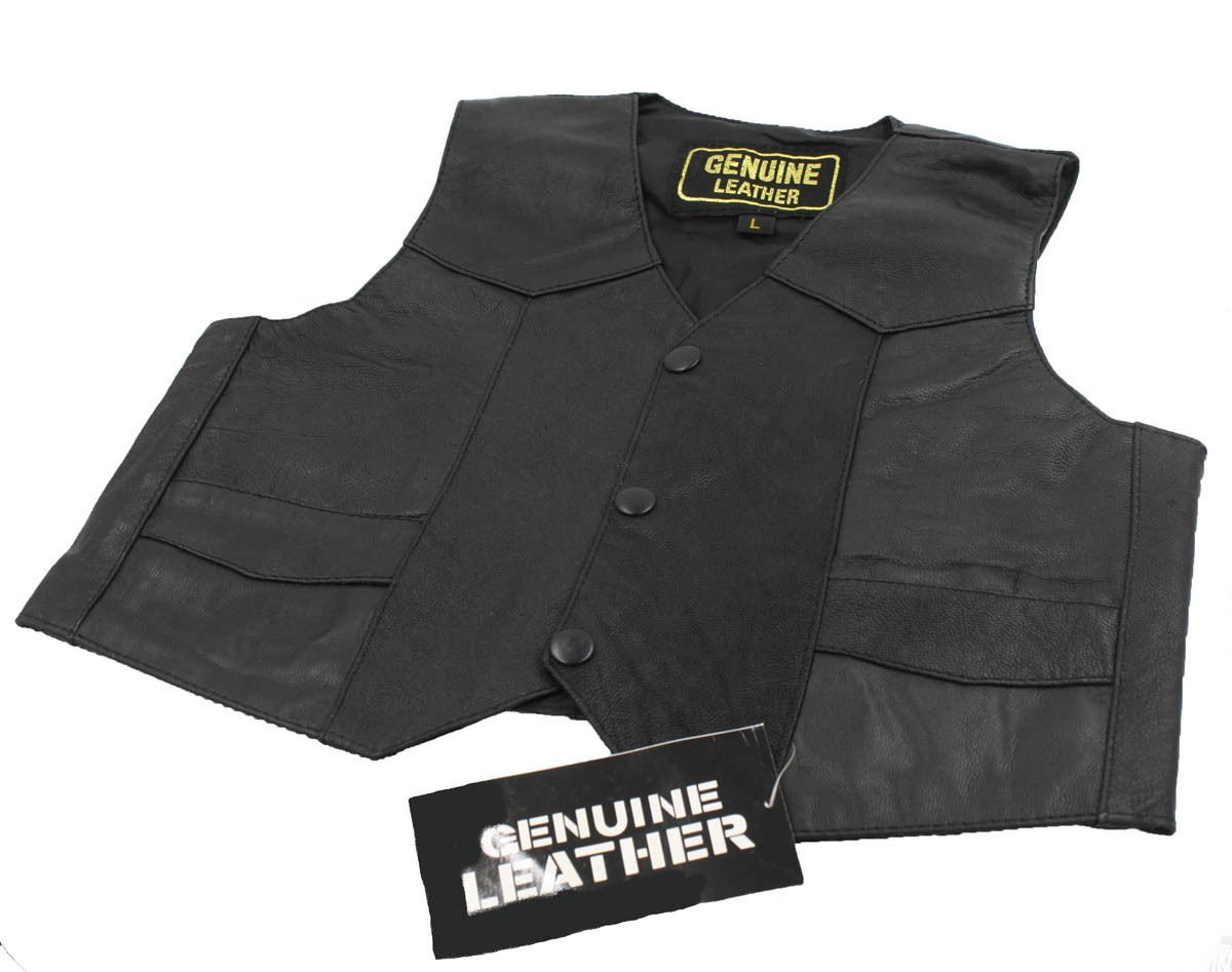 Dona Michi Unisex Kids/Toddlers Genuine Soft Leather Outerwear Biker Vest