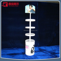 Nice appearance 4 -tire plastic shampoo bottle display stand /wood display rack of women's hair dye shampoo