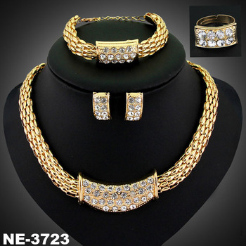 Las Banquet Star Necklace Earring Bracelet Ring Sets Golden