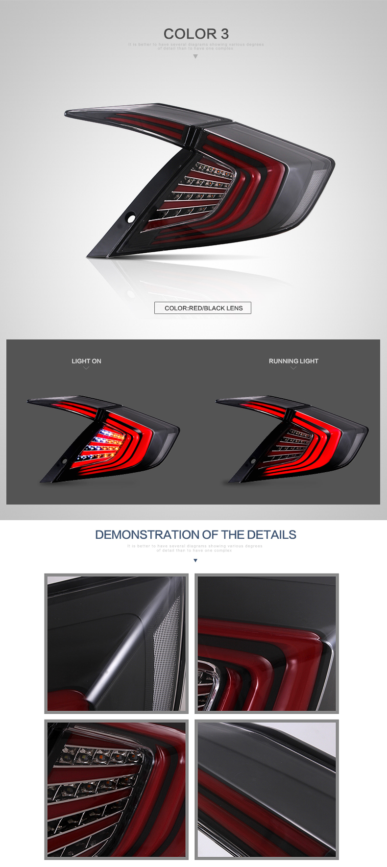 VLAND Car light 2016-2017 taillights,vland factory tail lights new system led rear lamp for honda civic