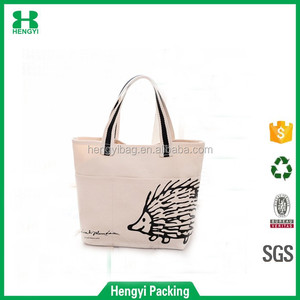 cute Hedgehog style top quality custom solid color canvas/cotton handle bag /wholesale reusable shopping bags