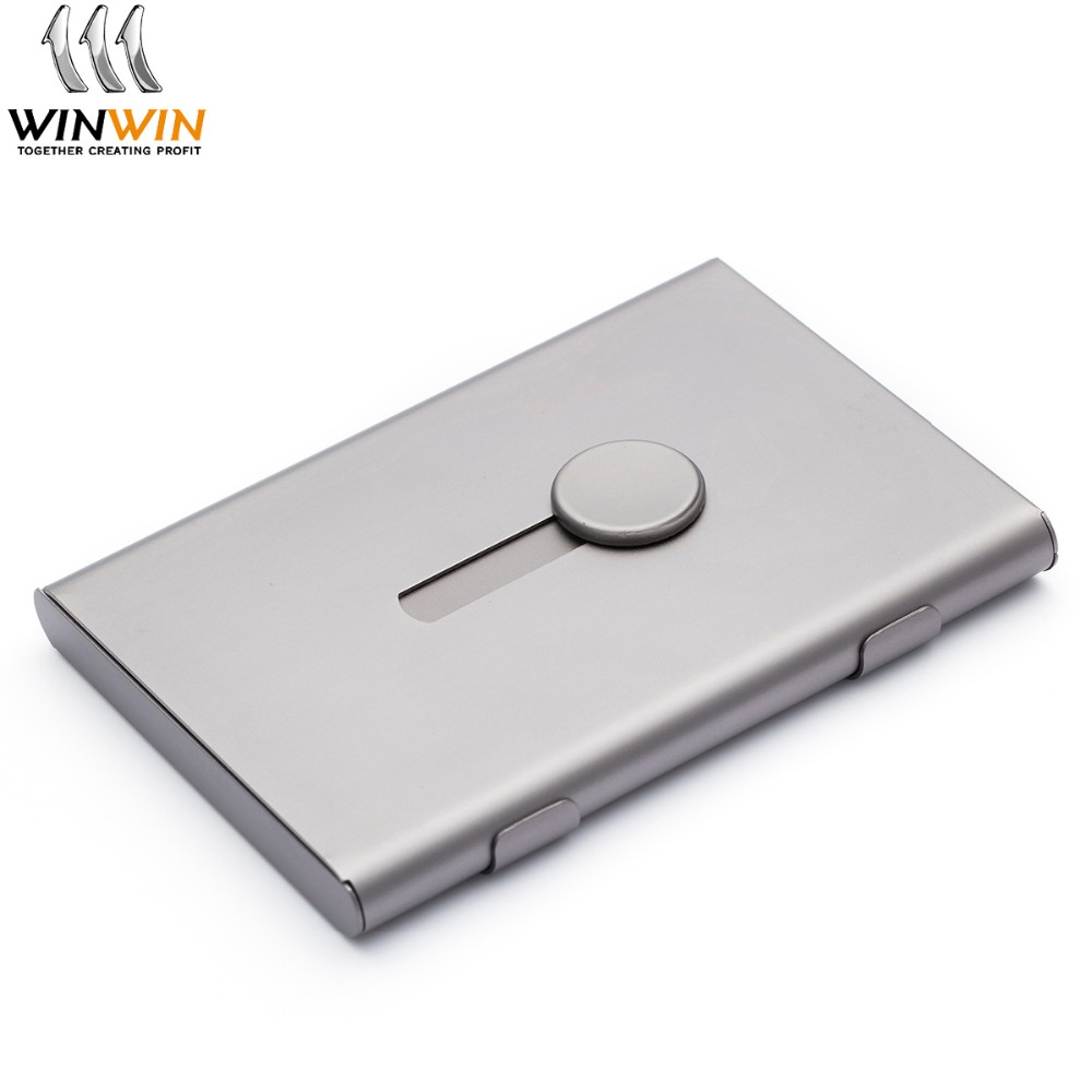 New product ideas 2019 factory wholesale custom aluminium metal visiting pop up business card holder