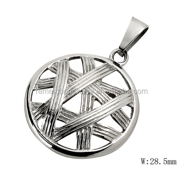 SRP2042 New Products 2015 Silver Tone Braid Round Pendant Mesh Round Charm Personalized Stainless Steel Pendant