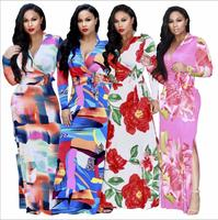 K3585A 2018 New Arrival Long Sleeve Floral Printed Long Dress For Women Sexy V neck African Printed Large Size Dress