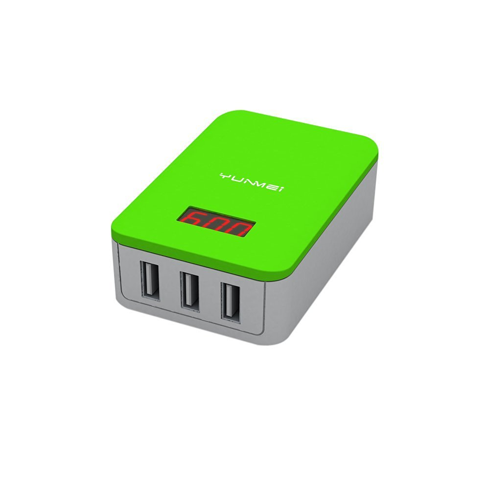 Yunmei USB Charger 3 Port 16W Desktop Charger Charger Power Adapter with output display MAX 3.1A For Android, Samsung, iPhone, Tablet PC, Smart Watches, Children's Mobile Phones (3USB-HG)
