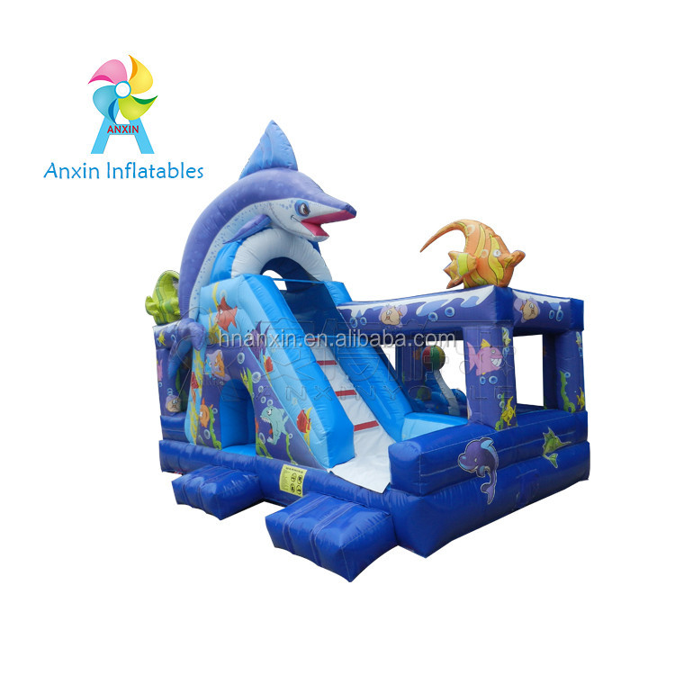 Kids Large Commercial Seaworld Theme Bouncy Slide Castle,Big Bouncer Jumping Slide For Sale