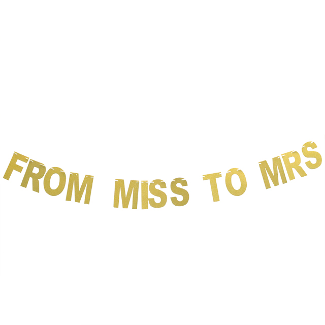 Party Decoration  From Miss To Mrs Letter Banner Bachelorette Party  Gold Glitter Letter Banner