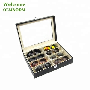 KID 6 Grid portable box travel leather and wooden Eyeglasses sunglasses case
