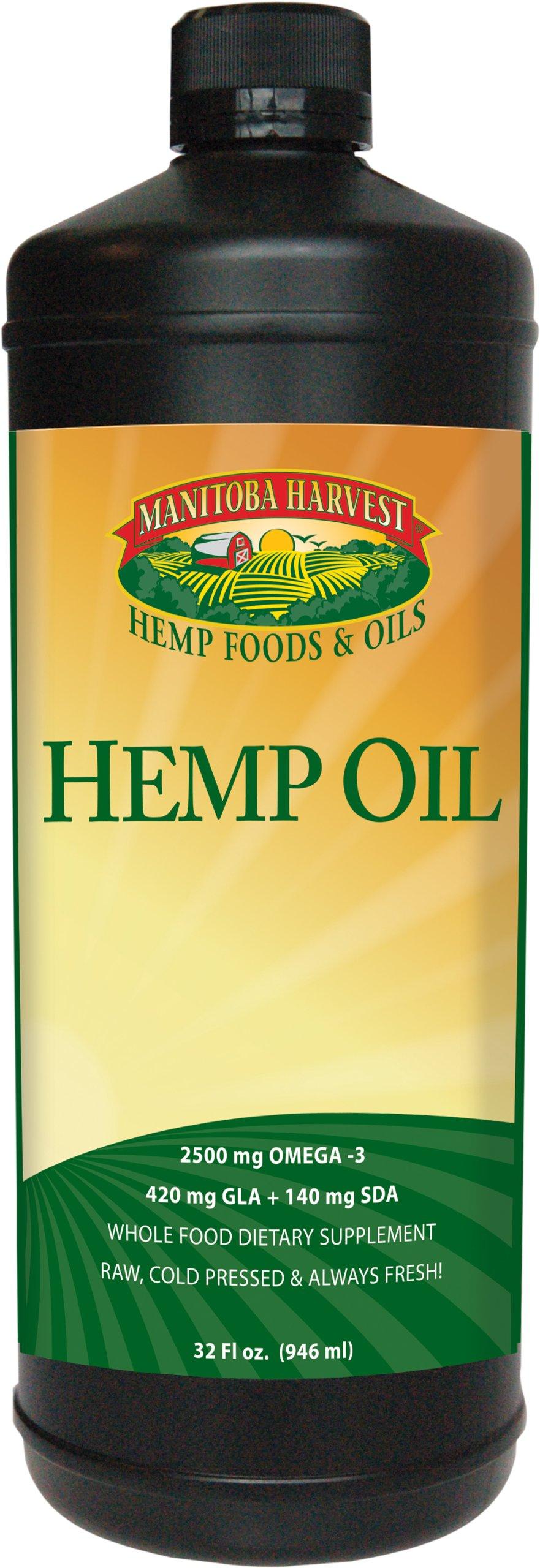 Manitoba Harvest Cold Pressed Hemp Seed Oil, 32 fl. oz., 10g of Omegas per Serving, Non-GMO