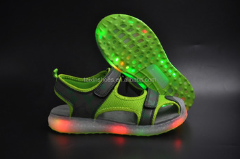 e4968db6860f LED Light Kids Sandals Beach Sandals Rubber Sole Shoes Slip-up sandals Made  in China