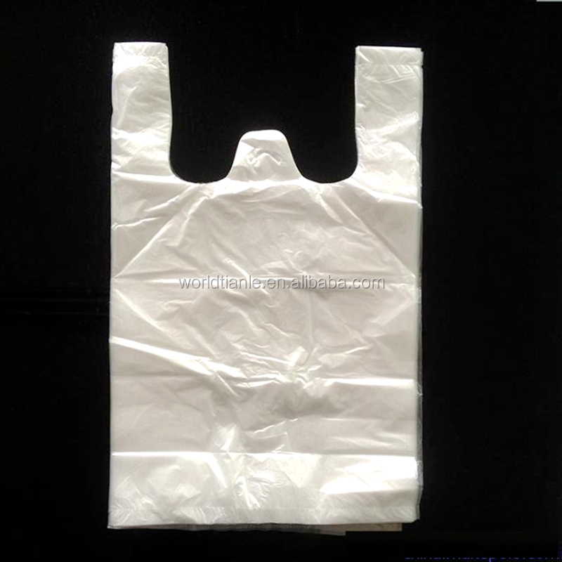 "Medium Size White Retail Shopping bags with made from Virgin High density polyethylene for 10""x5""x18"",13mircon"