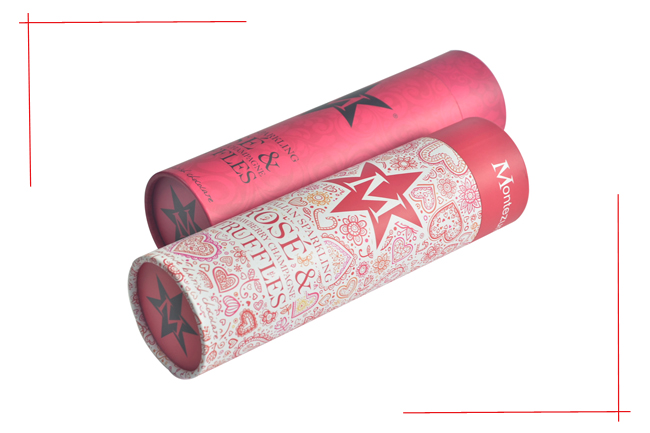 Hat Paperboard Wine Packing Boxes With Lid And Handle Rope Rose Color Embossing Stamping Tube