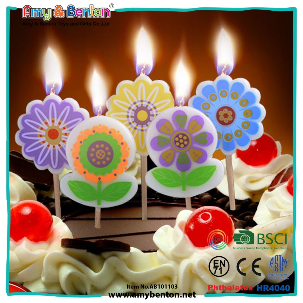 Beauty happy birthday flower shape candle for sale