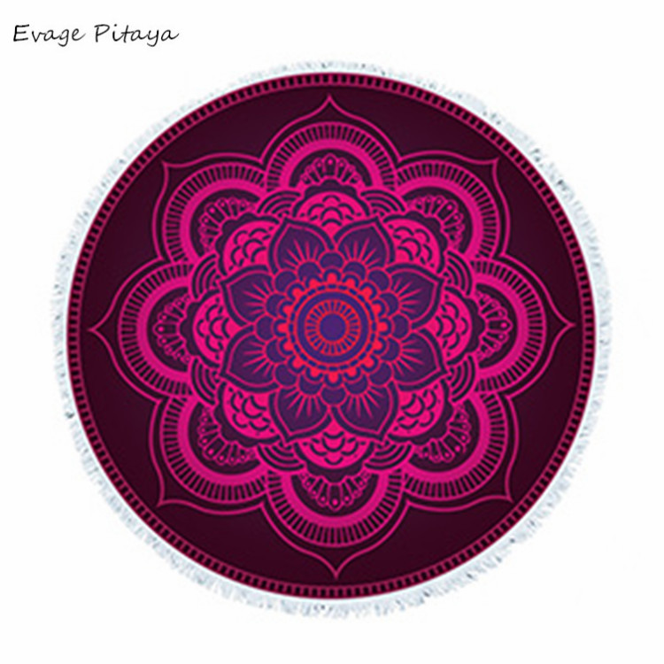 black and red fight color Mandala pattern round Yoga Mat high quality magic boho beach blanket