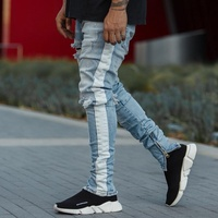 Royal wolf track pants factory tape printed jeans men side stripe jeans fashion trousers white striped jeans