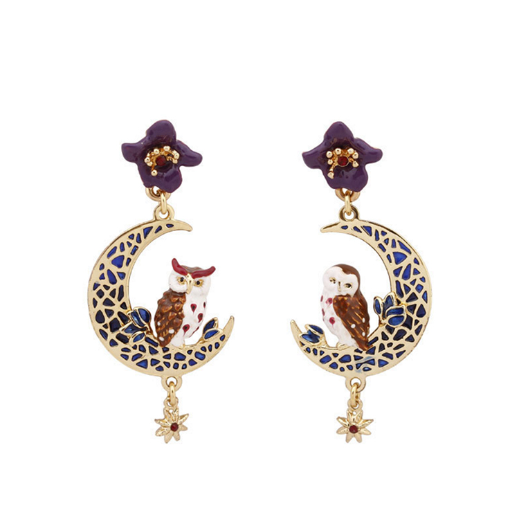 Fashion Jewelry Design Brass Owl Enamel Moon Pendant Earrings