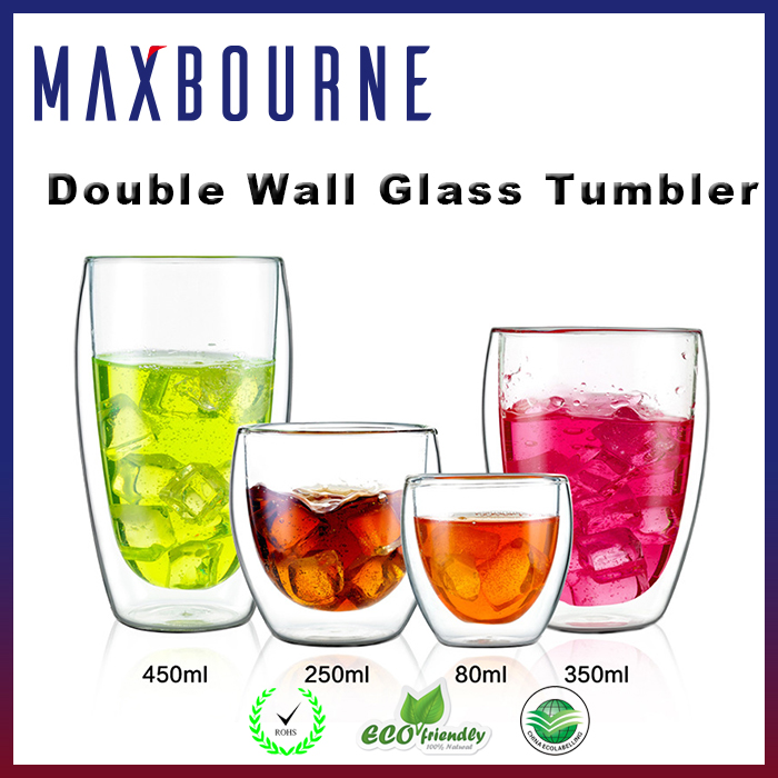 Double wall wine /beer/water glass tumbler glass cup sets