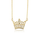 00808 xuping gold plated synthetic cz unique design queen crown necklace, lady prom party crown tiara necklace jewelry