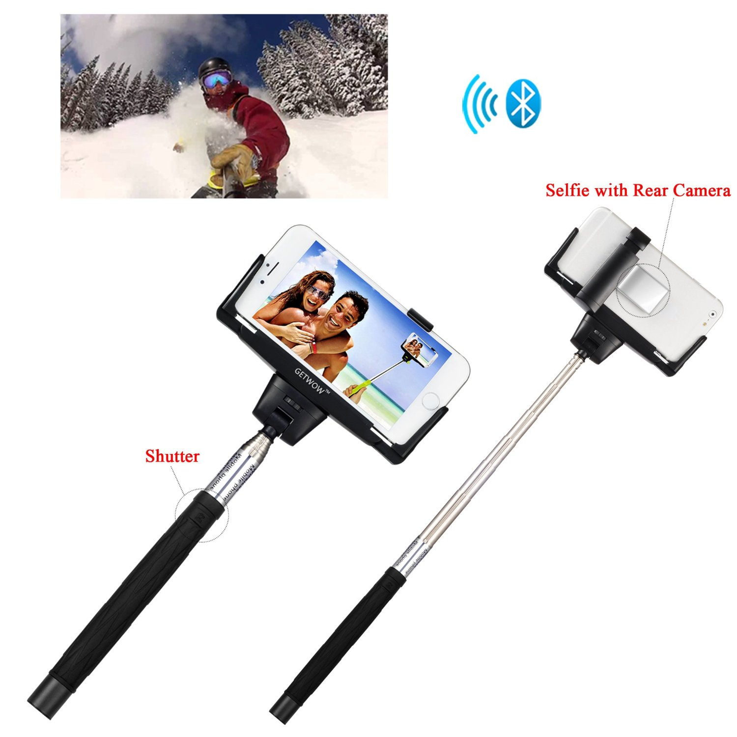 Getwow(TM) Extendable Self-portrait Wireless Bluetooth Remote Camera Shooting Shutter Monopod Selfie Handheld Stick Pole with Mount Holder and Super Clear Rear-camera Self-timer -- specially designed for Apple iPhone 6 Plus / 6 / 5s / 5c / 5 / 4s, Samsung Galaxy Alpha / S5 / S5 Active / S4 / S4