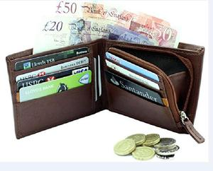 RFID Blocking Men's Wallet High Quality Soft Real genuine Leather Wallets With A Secure Zipped zip Coin Pocket Purse Gift Boxed