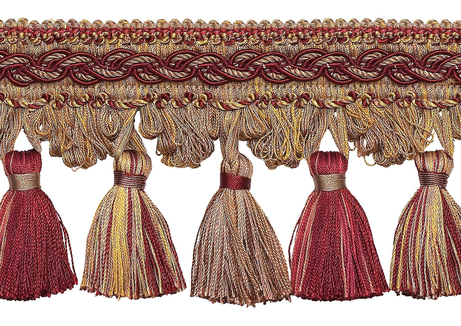 """Burgundy Taupe 4"""" Baroque Tassel Fringe Style# TFB1 Color: CRANBERRY HARVEST - 8612 (Sold by The Yard)"""