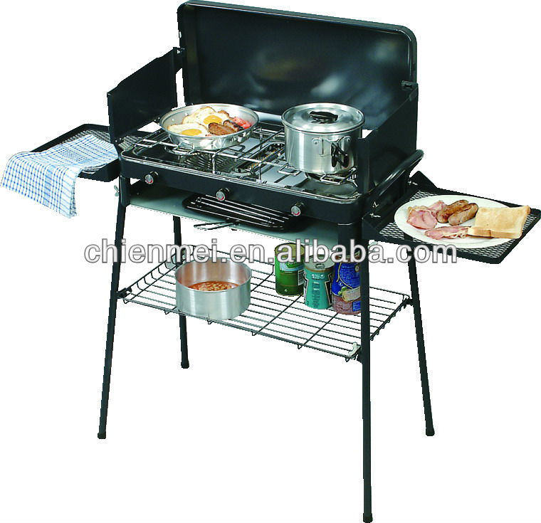 Triple Burner Mini BBQ Camp Stove with side table and shelf