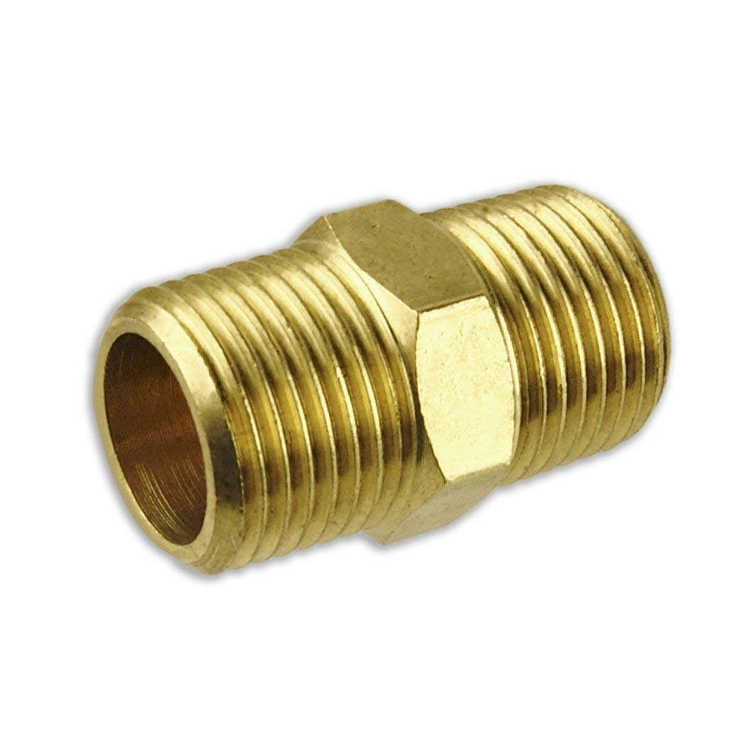"""Solid Brass Pipe Fitting , Hex Nipple, 3/4"""" or 3/8"""" NPT Male to 3/4"""" or 3/8"""" NPT Male, Quick Connector for Water Oil Air Fuel Tube & Hose (Pack of 2) (3/8"""")"""