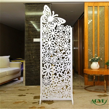 High quality decorative PVC folding screen room divider , carving room divider