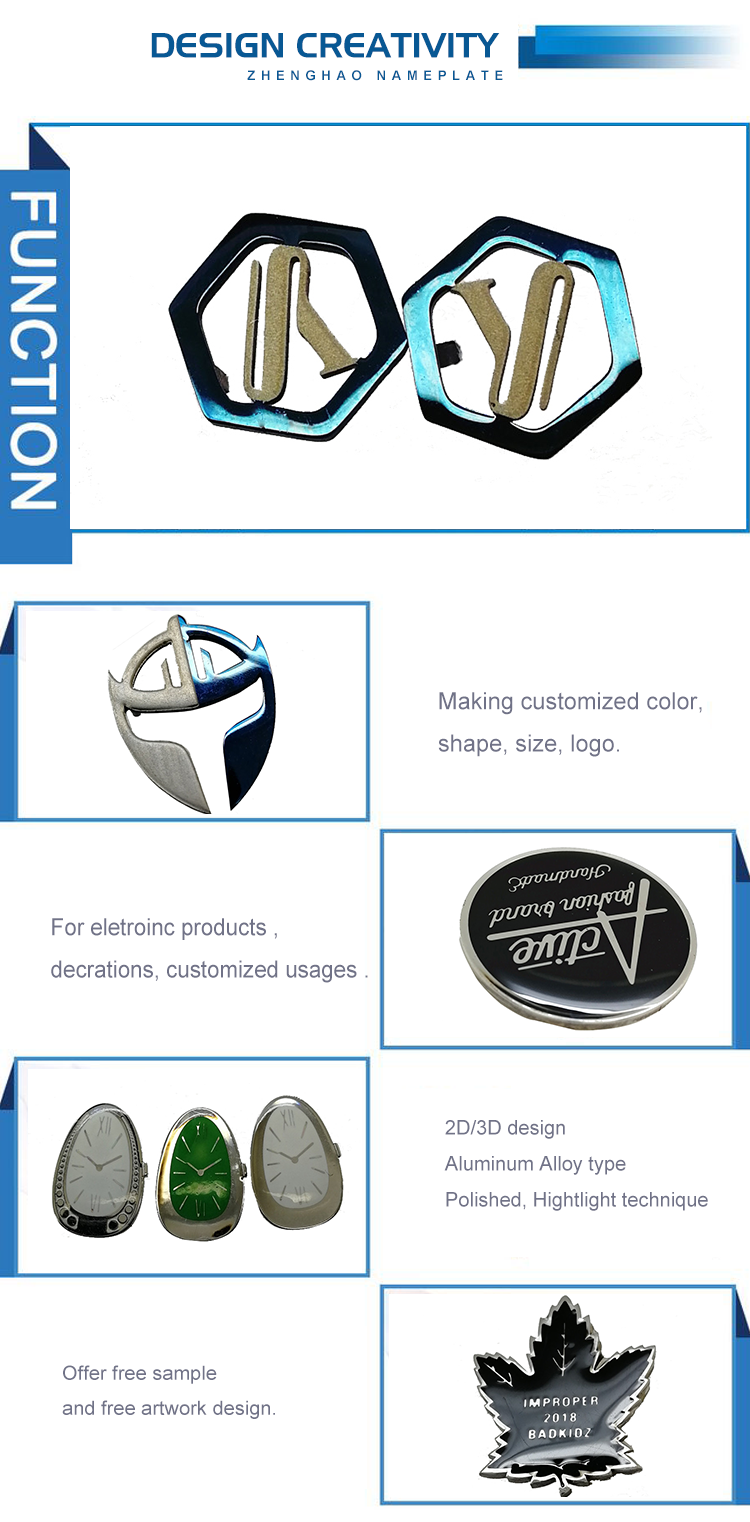 China factory Polished Letters Zinc alloy badges for handbags  luggage