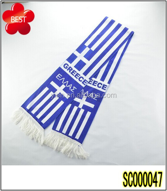 2014 White And Blue Football Fans Greece World Cup Scarfs