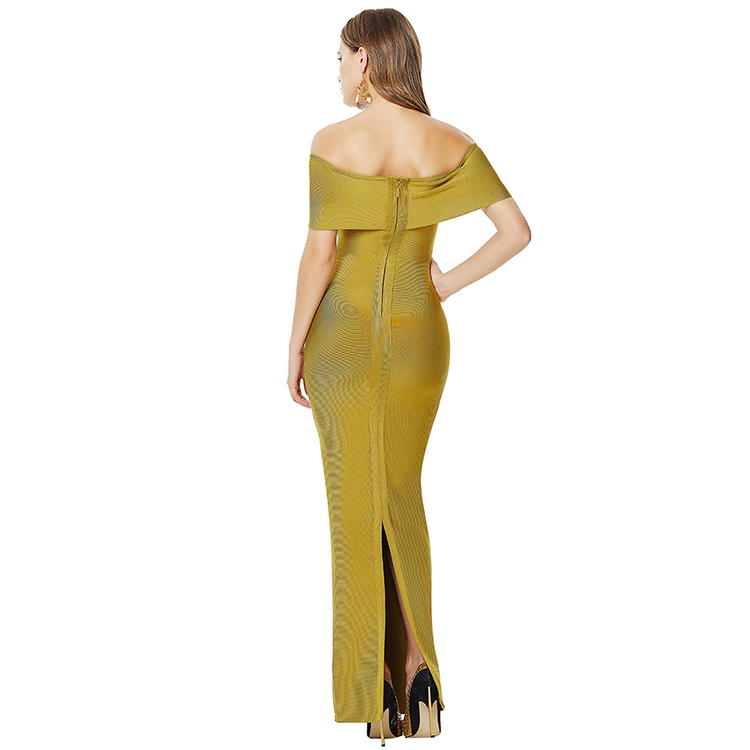 Lover-Beauty Off Shoulder Zipper Split Green Sexy High Quality Wholesale Bandage Bodycon Dress