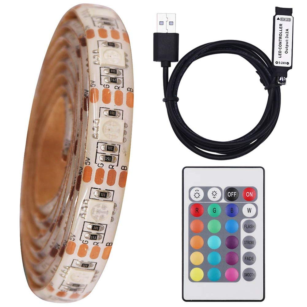 XUNATA LED Strip Lights 16.4ft for 40-60in TV, Non-Waterproof USB Powered LED TV Backlight Kit with 24 Key Remote Control, RGB 5050 LEDs Bias Lighting for HDTV