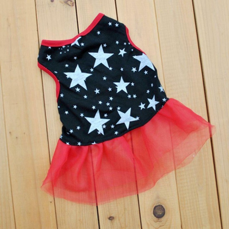 Sweet Tulle Dog Dress Cute Pet Dogs Clothes Summer Star Pattern Pets Cat Clothes