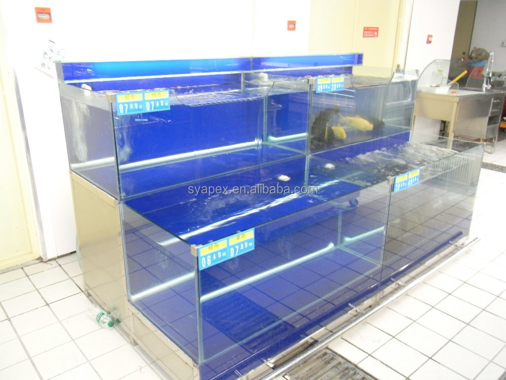 APEX factory custom make export package commercial refrigeration big fish tanks for restaurants and supermarket for sale