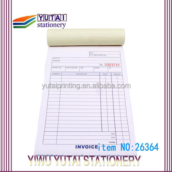 Bill Book Printing Design,Invoice Book,Vista Print Invoice Books