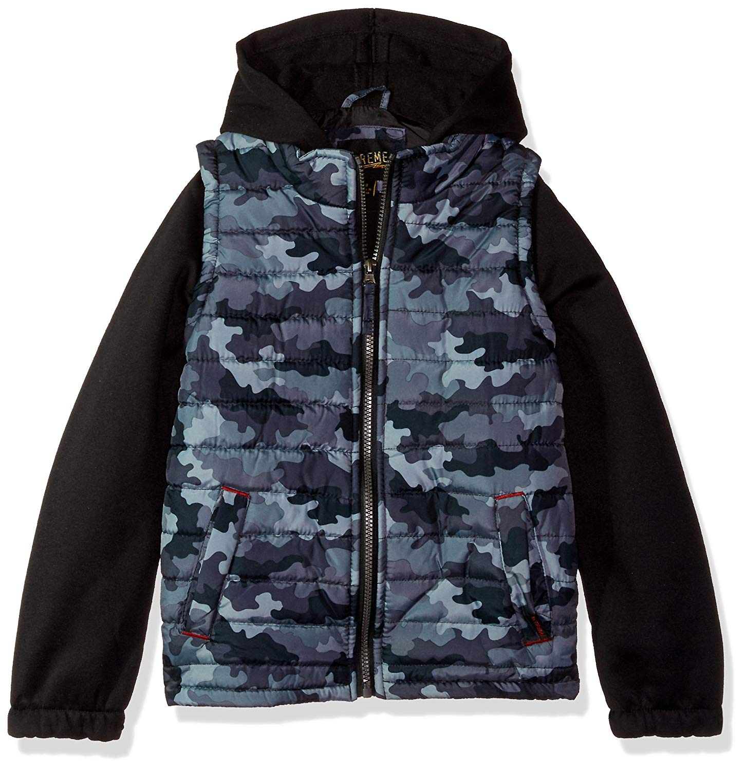 BLACK iXtreme Little Boys Tonal Print Vest W//Fleece Hood /& Sleeves