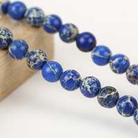 High Quality Wholesale Blue Emperor Stone Semi-finished Gemstone Loose Round Beads For Jewelry Making