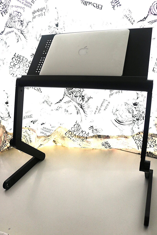 Adjustable Folding Air Vented Portable Laptop Notebook iPad Ergonomics Table Stand Aluminium Ultralight (Black)