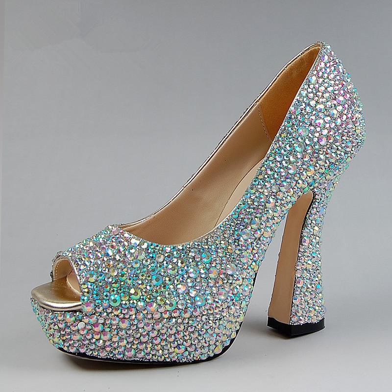 Chunky Wedding Heels: 2015 New Wedding Shoes Fashion Crystal Shoes Open Toe