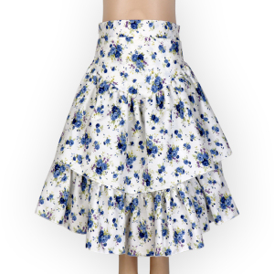 Summer Girl Small Floral Double Woven Cotton Cake Half Length Midi Skirt