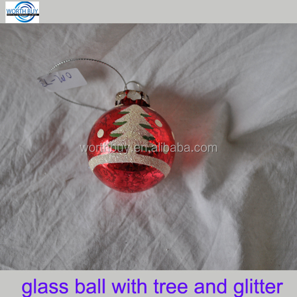 Vintage red murano glass ball w/ glitter & Christmas tree from Shenzhen factory