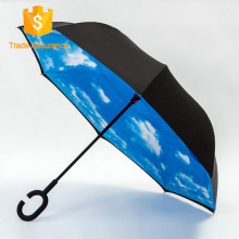 2017 new Style double layer colors reverse umbrellas with C Shape Handle