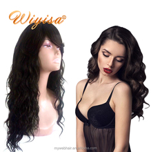 Wholesales high quality unprocessed virgin thick peruvian human hair deep side part lace front wig