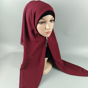 Fashion brand women solid color long size wholesale top quality muslim scarf plain chiffon smooth hijab