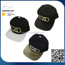 Wholesale 100% polyester high quality 2017 new style fashion Korea EXO metal bling rhinestone plain dyed hip-hop snapback cap