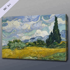 Canvas Printing Abstract Wheat Field Cypresses Van Gogh Reproduction Oil Paintings