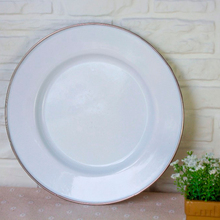 Enamelware Dinner Plate - Solid White /Cream with crab design